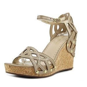 Adrienne Vittadini Chavi Laser Cut Wedge Sandals